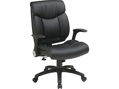 Office Star FL Series Faux Leather Manager Chair, Black (FL89675-U6)