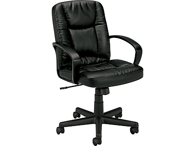 HON Mid-Back Executive Chair, Center-Tilt, Fixed Arms, Black SofThread Leather NEXT2018 NEXT2Day