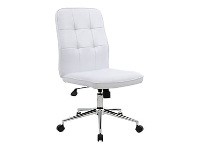 Boss Leather Executive Office Chair, Armless, White (B330 WT) | Staples