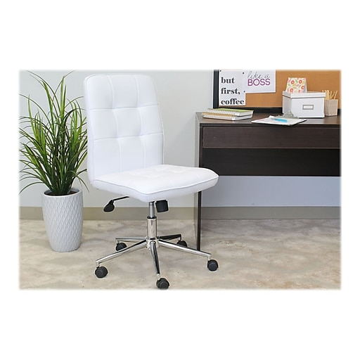 Boss Millennial Modern Faux Leather Computer and Desk Chair, White (B330-WT)