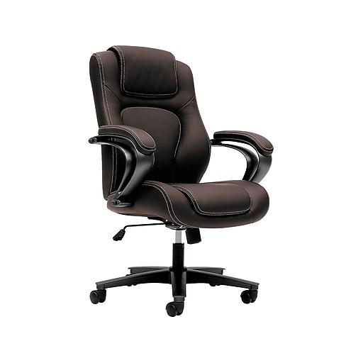 HON Vinyl High-Back Executive Chair, Center-Tilt, Fixed Arms, Brown (BSXVL402EN45) NEXT2019 NEXTExpress