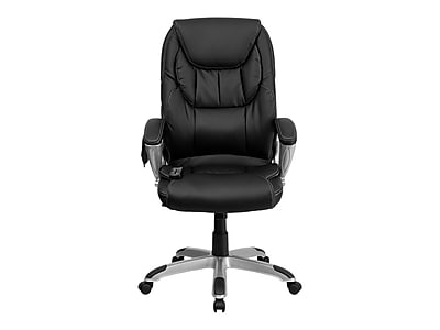 Flash Furniture Faux Leather Executive Chair, Black and Silver (BT9806HP2)