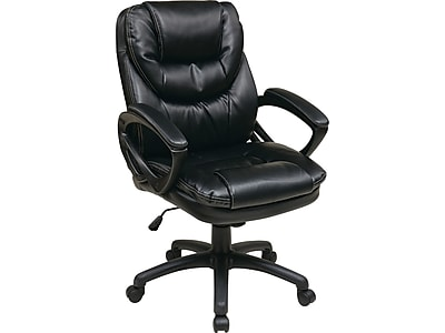 Office Star FL Series Faux Leather Manager Chair, Black (FL660-U6)