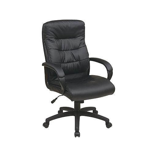 Office Star FL Series Faux Leather Executive Chair, Black (FL7480-U6)