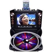 Karaoke USA Karaoke Machine Color Screen, Record, Bluetooth and LED Sync Lights (GF846)