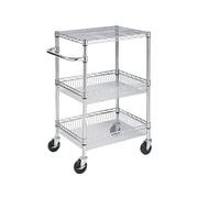 "Honey-Can-Do 40""H x 18""W x 24""D Steel Rolling Utility Cart, Chrome (CRT-01451)"