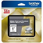 "Brother P-touch Laminated Tape, 1"", White Print on Premium Glitter Silver (TZe-PR955)"