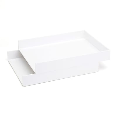 Poppin Stackable Letter Tray, White, ABS Plastic, Set of 2, 8 Count (100212-MC)
