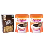 Dunkin' Donuts Original Blend Ground Coffee, 30 oz. 2 Pack, and Sugar in the Raw Packets, 200/Box (DUN-PK-STP)