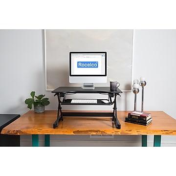 "Rocelco 32"" Ergonomic Adjustable Desk Riser, Black (R EADRB2)"