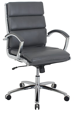 kathy ireland® Amherst Mid-Back Faux Leather Executive Chair, Charcoal Gray (80989M-1)