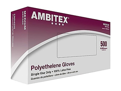 Ambitex P6505 Series Polyethylene Disposable Gloves, M, Clear, 500/Box (PMD6505)