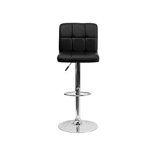 Flash Furniture Adjule Height Contemporary Quilted Vinyl Barstool Black With Chrome Base Ds810modbk Staples
