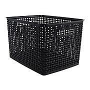 Advantus Large Weave Plastic Bin, Black, Each (36006)