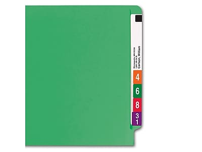Smead Colored End Tab File Folder, Shelf-Master Reinforced Straight-Cut Tab, Letter Size, Green, 100/Box (25110)