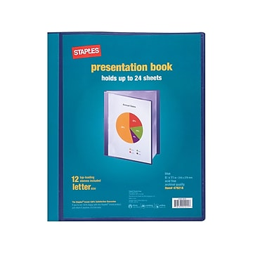 Staples Letter Clear Cover Presentation Book, Blue, Each (21619)
