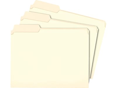 Staples File Folders, 3-Tab, Letter Size, Manila, 100/Box (116749)