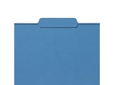 Smead File Folders, 3-Tab, Letter Size, Blue, 100/Box (12043)
