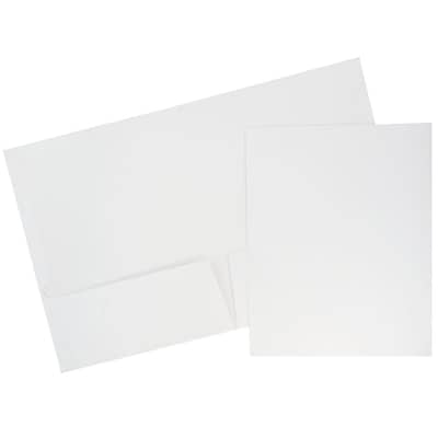 JAM Paper® Glossy Two Pocket Presentation Folder, White, 6/pack (103489D)