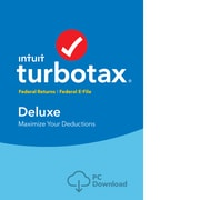 TurboTax Deluxe Fed + Efile 2018 for 1 User, Windows, Download (0606065)