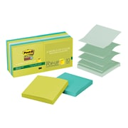"""Post-it®Super Sticky Pop-up Notes, 3"""" x 3"""", Bora Bora Collection, Recycled, 10 Pads/Pack (R33010SST)"""