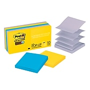 """Post-it® Super Sticky Pop-up Notes, 3"""" x 3"""", New York Color Collection, 90 Sheets/Pad, 10 Pads/Pack (R330-10SSNY)"""