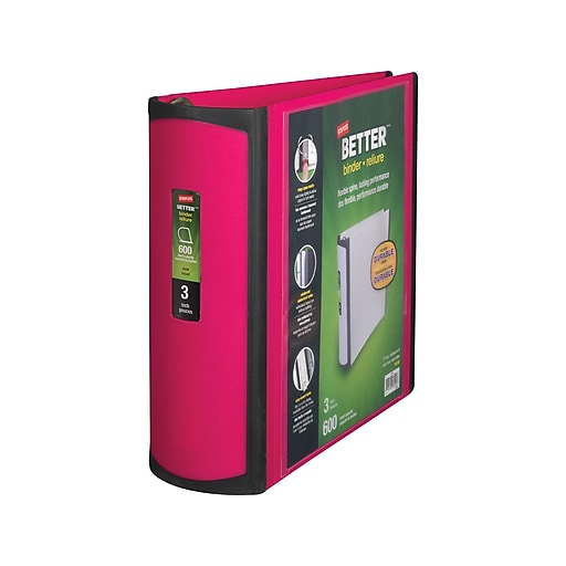 Staples Better 3-Inch D 3-Ring View Binder, Pink (15128-US