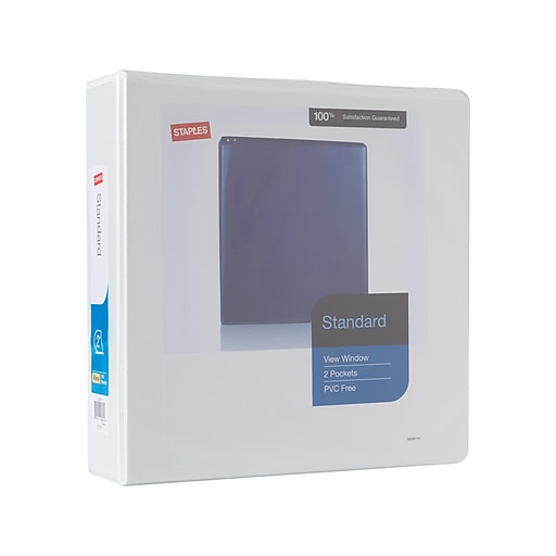 staples standard 2 inch slant d 3 ring view binder white 24637