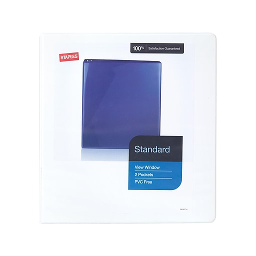 staples 1 5 inch standard view binder with d rings white 12 pack