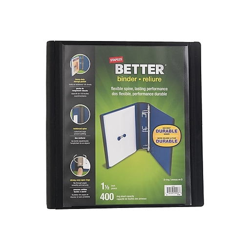 staples better 1 5 inch d 3 ring view binder black 13394 staples