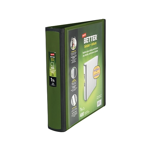 staples better 1 5 inch d 3 ring view binder olive 22165 us staples