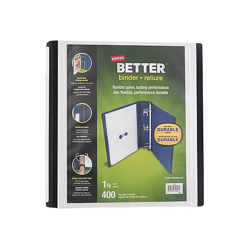 staples better 1 1 2 view binders with d rings white staples