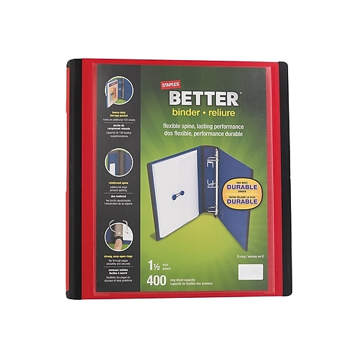 b3979f4db05 Staples Better 1.5-Inch D 3-Ring View Binder