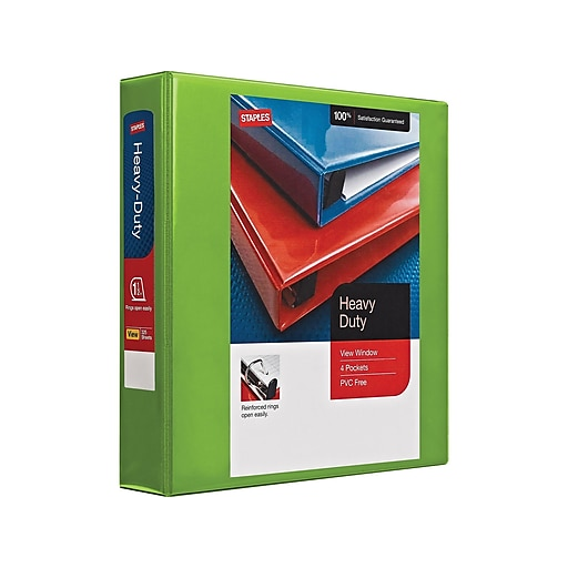 staples 1 1 2 inch better view binders with d rings green top