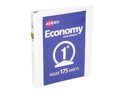 """Avery Economy 1"""" 3-Ring View Binder, White (05711)"""
