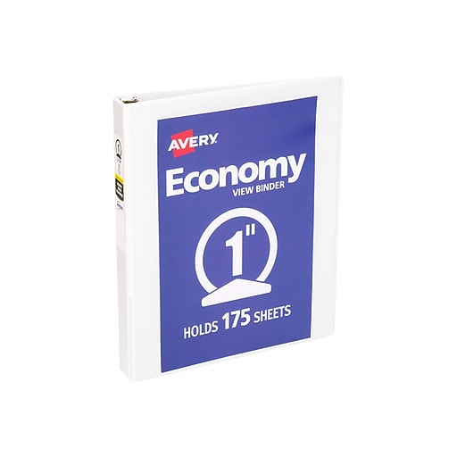 avery economy 1 inch round 3 ring view binder white 5711 staples