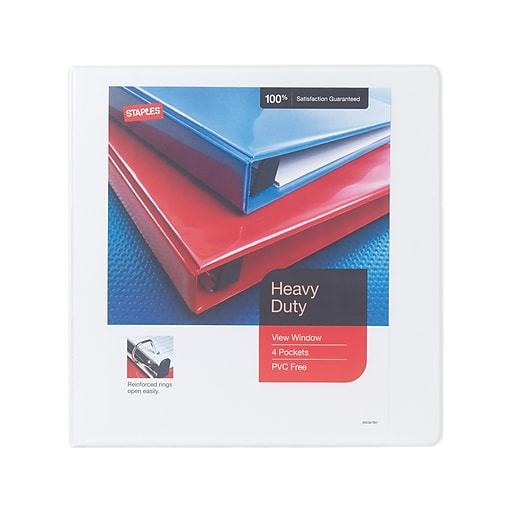 staples heavy duty 2 inch slant d 3 ring view binder white 24688