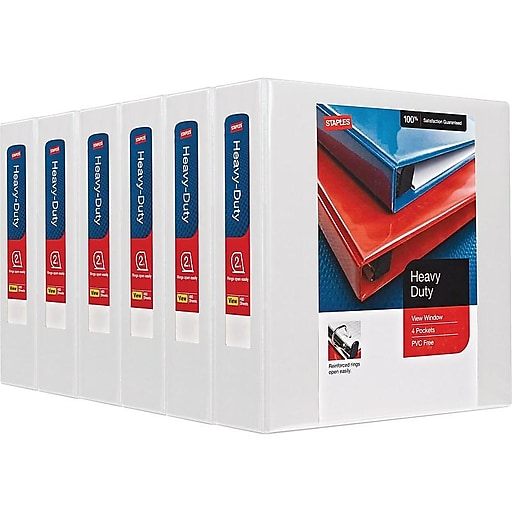 staples heavy duty view binder with d rings white 500 sheet