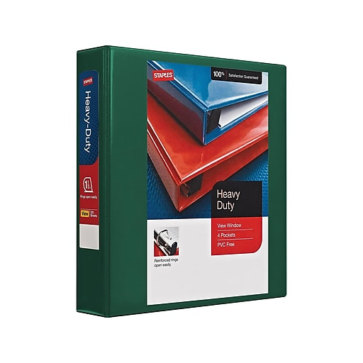 1 1 2 staples heavy duty view binder with slant d rings staples