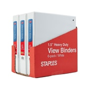 """1-1/2"""" Staples® Heavy-Duty View Binder with Slant-D™  Rings, White, 6-pack, Tear-away Carton"""