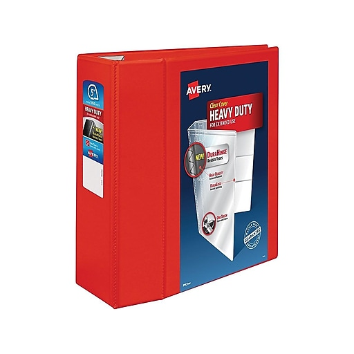 5 avery heavy duty view binders with one touch ezd rings red