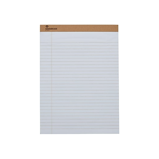 """Sustainable Earth by Staples Notepads, 8.5"""" x 11.75"""", Wide, White, 50 Sheets/Pad, 12 Pads/Pack (16767)"""