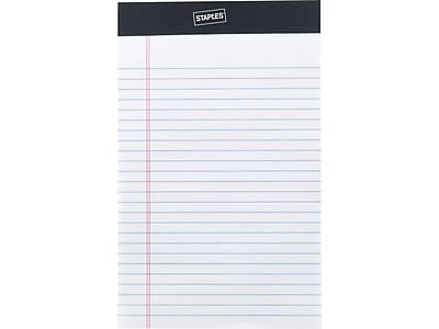 """Staples Notepads, 5"""" x 8"""", Narrow Ruled, White, 50 Sheets/Pad, 12 Pads/Pack (51296/23642)"""
