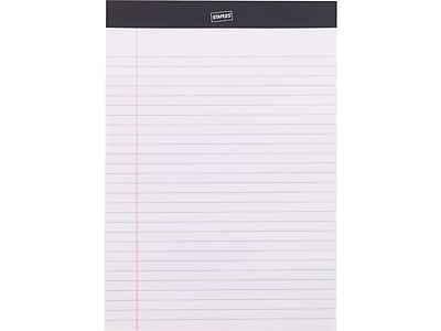 """Staples Notepad, 8.5"""" x 11.75"""", Wide, White, 50 Sheets/Pad (20499)"""