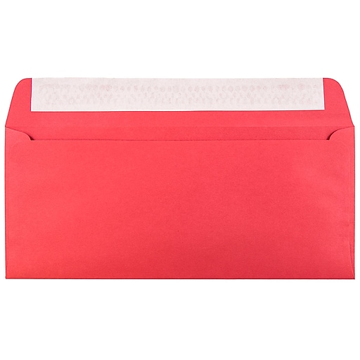 JAM Paper® #10 Business Colored Envelopes with Peel and Seal Closure, 4.125 x 9.5, Red Recycled, Bulk 1000/Carton (11789B)