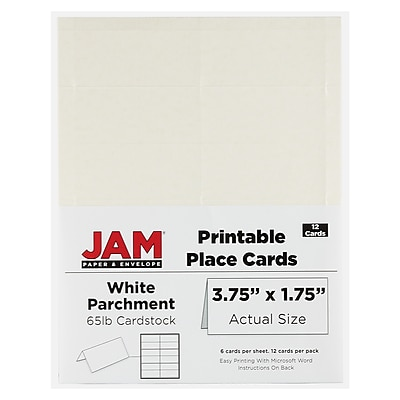 jam paper® printable place cards, 1.75 x 3.75, white placecards, 12