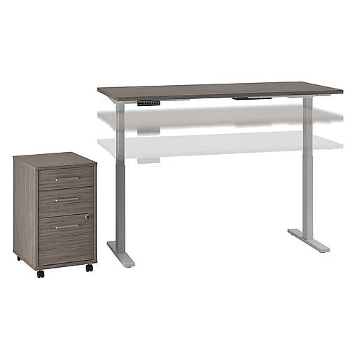 Bush Business Furniture Move 60 Series 72W x 30D Height Adjustable Desk with Storage, Cocoa/Cool Gray Metallic (M6S012COSU)