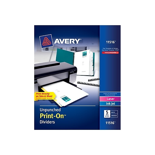 Avery Print-On Blank Dividers, 5-Tab, White, 5/Pack (11516)