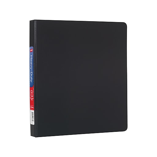 staples heavy duty 1 inch slant d ring non view binder black 24646