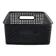 Advantus Weave Plastic Bin, Black, Each